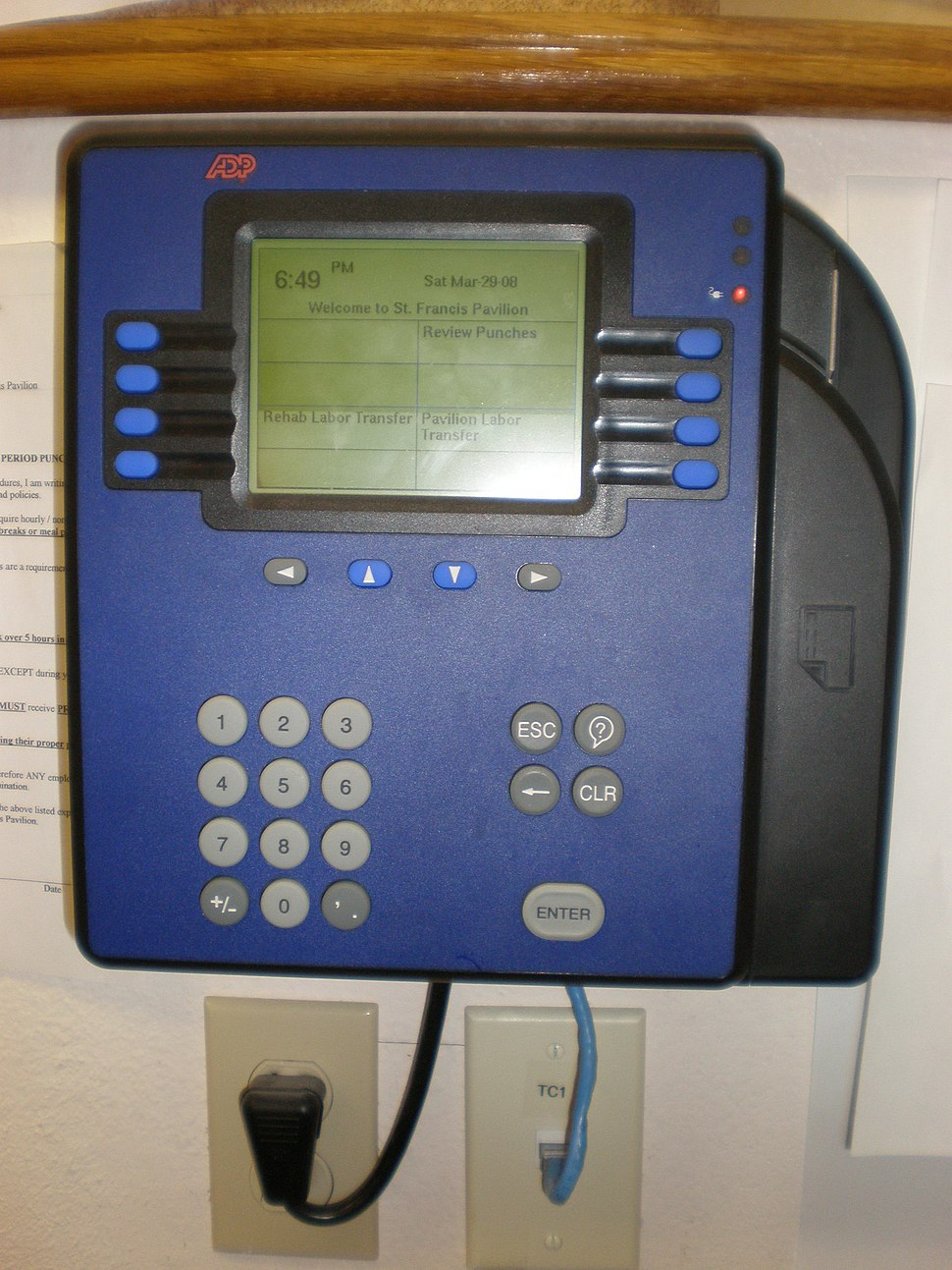 ADP Model 4500 timecard reader
