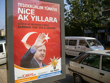 Party leader Erdogan on a poster thanking the people for the election results. AK Party poster after the parliamentary elections in 2007.jpg
