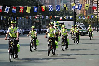 Auxiliary Medical Service - Bicycle Team members during the Commissioner's Parade.
