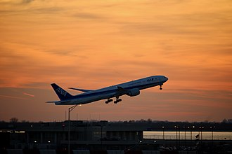 Airplane - An All Nippon Airways Boeing 777-300 taking off from New York JFK Airport.