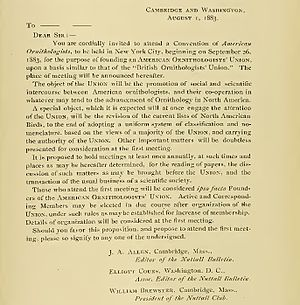 American Ornithological Society - Original letter to AOU founders, dated 1 August 1883