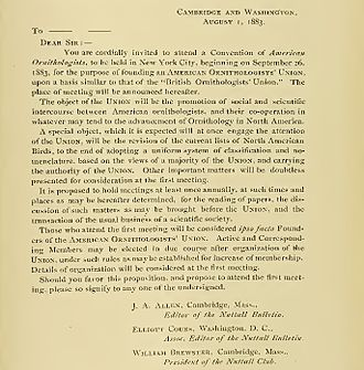 American Ornithological Society - Original letter to AOU founders, dated August 1, 1883