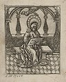 A Saint Writing at his desk, in an arcade ca.1519 print by Master S., S.III 39464, Prints Department, Royal Library of Belgium.jpg