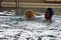 A U.S. Navy corpsman prepares to throw a polo ball during the water polo tournament at Al Asad Air Base, Iraq, March 15, 2009 090315-M-KL291-023.jpg