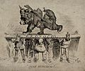 A bear dressed as a soldier supported by six men Wellcome V0049583.jpg