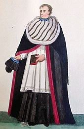 A canon in choir-dress in Winter.JPG