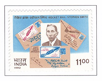 """Stephen Smith (aerospace engineer) - """"Rocket Mail-Stephan Smith"""" commemorative stamp issued on 19 December 1992"""