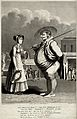 A fat farmer and a young woman at a sea-side resort; behind Wellcome V0020050.jpg
