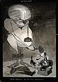 A monster representing an influenza virus hitting a man over Wellcome V0015684.jpg