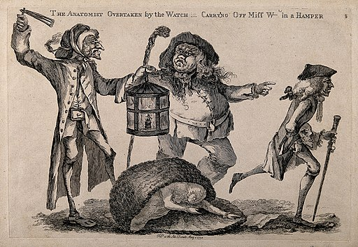 A nightwatchman disturbs a body-snatcher who has dropped the Wellcome V0010463
