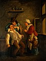 A tooth-drawer operating on a man, with a woman and child lo Wellcome V0017186.jpg