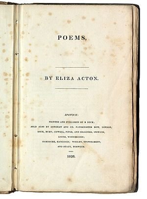 Eliza Acton - Title page of Poems by Eliza Acton (London: Longmans, 1826)