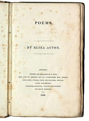 Eliza Acton - Title page of Poems by Eliza Acton (London: Longmans, 1826)