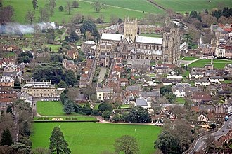 Wells, Somerset - Image: Aerial view of Wells