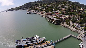 Sausalito Ferry Terminal - Aerial view of the terminal and approach