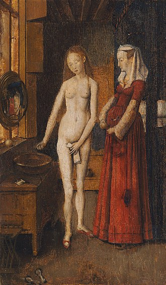 Woman Bathing (van Eyck) - Woman at Her Toilet, early 16th-century copy by an unknown Netherlandish artist, 27.2 x 16.3 cm. Harvard Art Museums/Fogg Museum, MA.