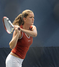 Radwańska in action at the 2008 US Open.