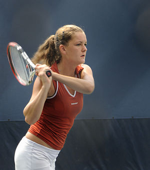 Agnieszka Radwańska - Radwańska in action at the 2008 US Open