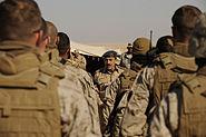 Air Marshal Fahad Al-Amir speaks to a group of US Marines