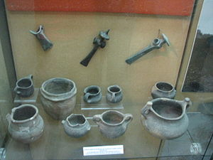 Bronze Age Europe - A display of Late Bronze Age vessels and tools from various Romanian locations, at the National Museum of the Union, Alba Iulia