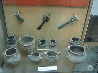 Bronze Age in Romania - Late Bronze Age vessels and tools, from various locations: Alba Iulia, Straja, Geoagiu de Sus, Piatra Craivii. In display at the National Museum of the Union, Alba Iulia