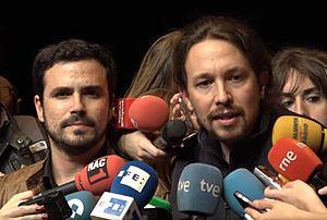 Unidos Podemos - Pablo Iglesias and Alberto Garzón announcing their alliance ahead of the 2016 general election.