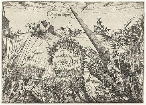 Allegorie op de Gulik-Kleefse kwestie, 1614 Rende-voi knapsack (titel op object), RP-P-OB-80.792