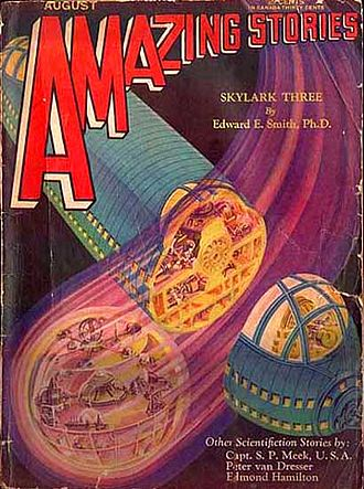 E. E. Smith - The serial novel Skylark Three began as Amazing Stories cover story (August 1930)