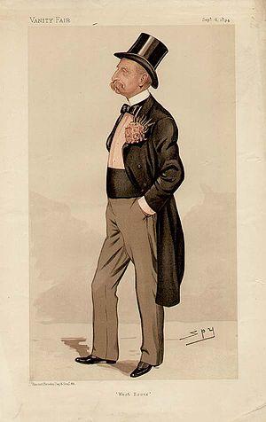 """Amelius Lockwood, 1st Baron Lambourne - """"West Essex"""" Lockwood as caricatured by Spy (Leslie Ward) in Vanity Fair, September 1894"""