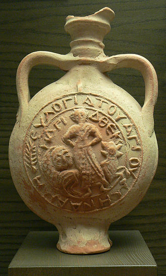 Ampulla - Eulogy ampulla representing St. Menas and St. Thecla (terracotta, 6th century, Louvre Museum)
