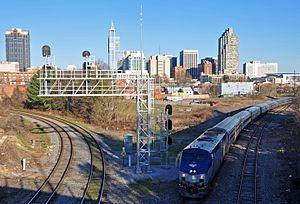 Carolinian (train) - The Carolinian departing Raleigh Amtrak station