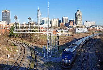 Carolinian (train) - The Carolinian departing Raleigh Amtrak station