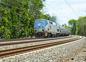"""Pennsylvanian (train) - Genesis powered Amtrak """"Pennsylvanian"""" passing Rosemont, Pennsylvania"""