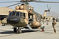 An Afghan Air Force Mi-17 helicopter starts up its engines in preparation for a flight at Kabul International Airport (110924-F-RW714-001).jpg