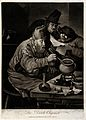 An alchemist hunched over his crucible; an assistant reads h Wellcome V0025531.jpg