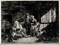 An old fortune-teller is visiting a couple and their newborn Wellcome V0025925.jpg