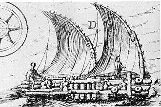 Pre-Columbian rafts - A drawing of a raft (balsa) near Guayaquil, Ecuador in 1748.  The drawing resembles the description given by 16th century Spanish explorers of the rafts used by Indians.