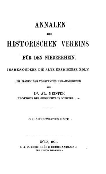 File:Annalen des Historischen Vereins für den Niederrhein 71 (1901).djvu