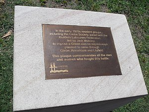 Jack Mundey - A plaque in Annandale commemorating the work of Mundey and the union