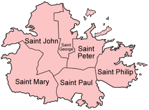 Antigua - Map of Antigua showing the parishes