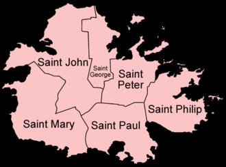 Antigua - Map of Antigua showing the parishes