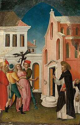 Antonio Vivarini - Saint Peter Martyr Exorcizing a Woman Possessed by a Devil - 1983.384 - Art Institute of Chicago