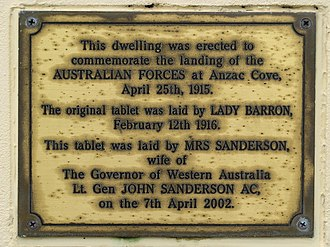 Anzac Cottage - Image: Anzac Cottage plaque