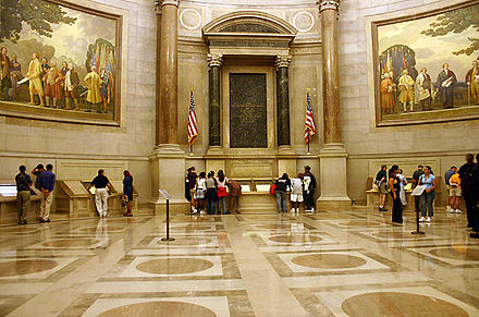 The Rotunda of the National Archives Building, where the Charters of Freedom documents are publicly exhibited ArchivesRotunda.jpg