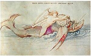 Arion - Arion riding a Dolphin, by Albrecht Dürer circa. 1514