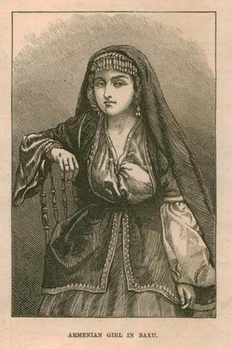 Armenians in Baku - Armenian girl in Baku from an 1873 publication of The Illustrated London News