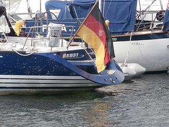 Ensigns are flown on boats to indicate the country of registration of the boat. Arndt Flag Tallinn 31 July 2014.JPG