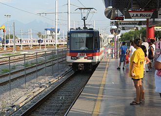 Monterrey Metro - Train arriving at Talleres Station.