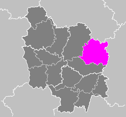 Location of Dijon in Bourgogne