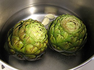 Artichoke - Globe artichokes being cooked